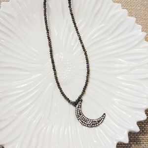 Jewelry - Crystal Moon Pendant Bead Necklace
